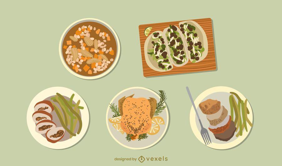 Chicken dishes food set design