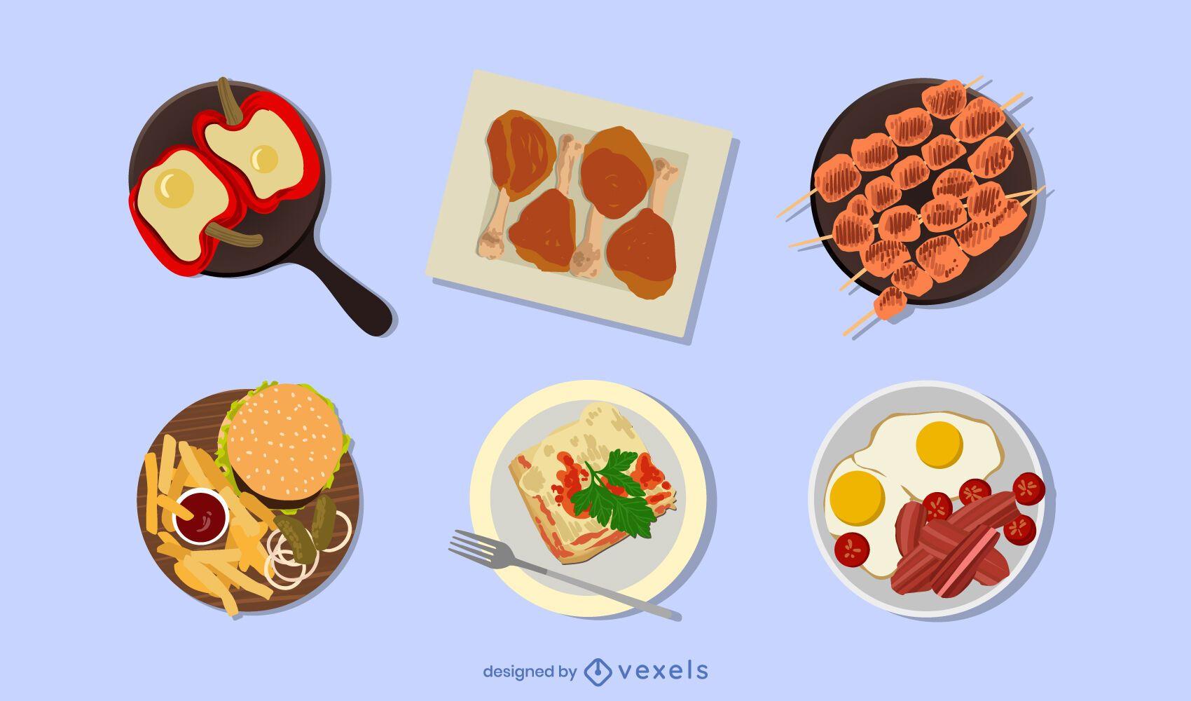 Conjunto de ilustración de alimentos de origen animal
