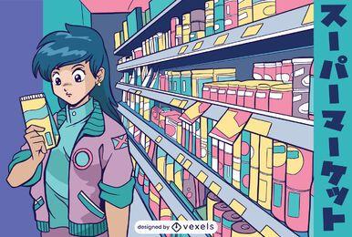 Ilustração de anime girl em supermercado