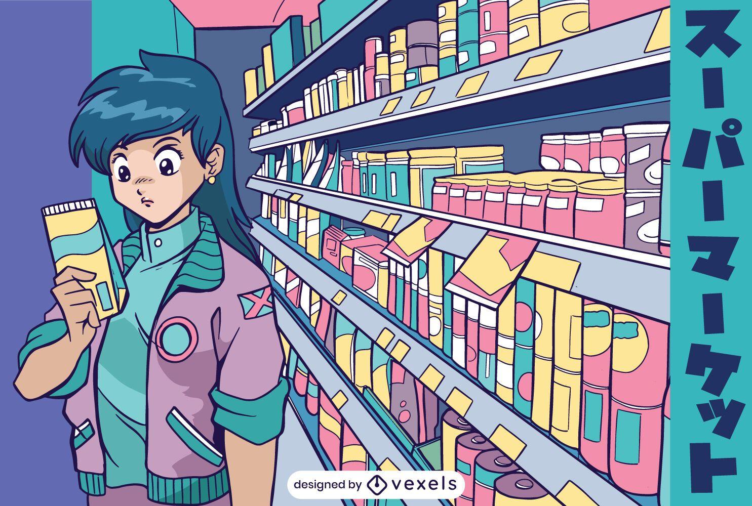 Supermarket anime girl illustration
