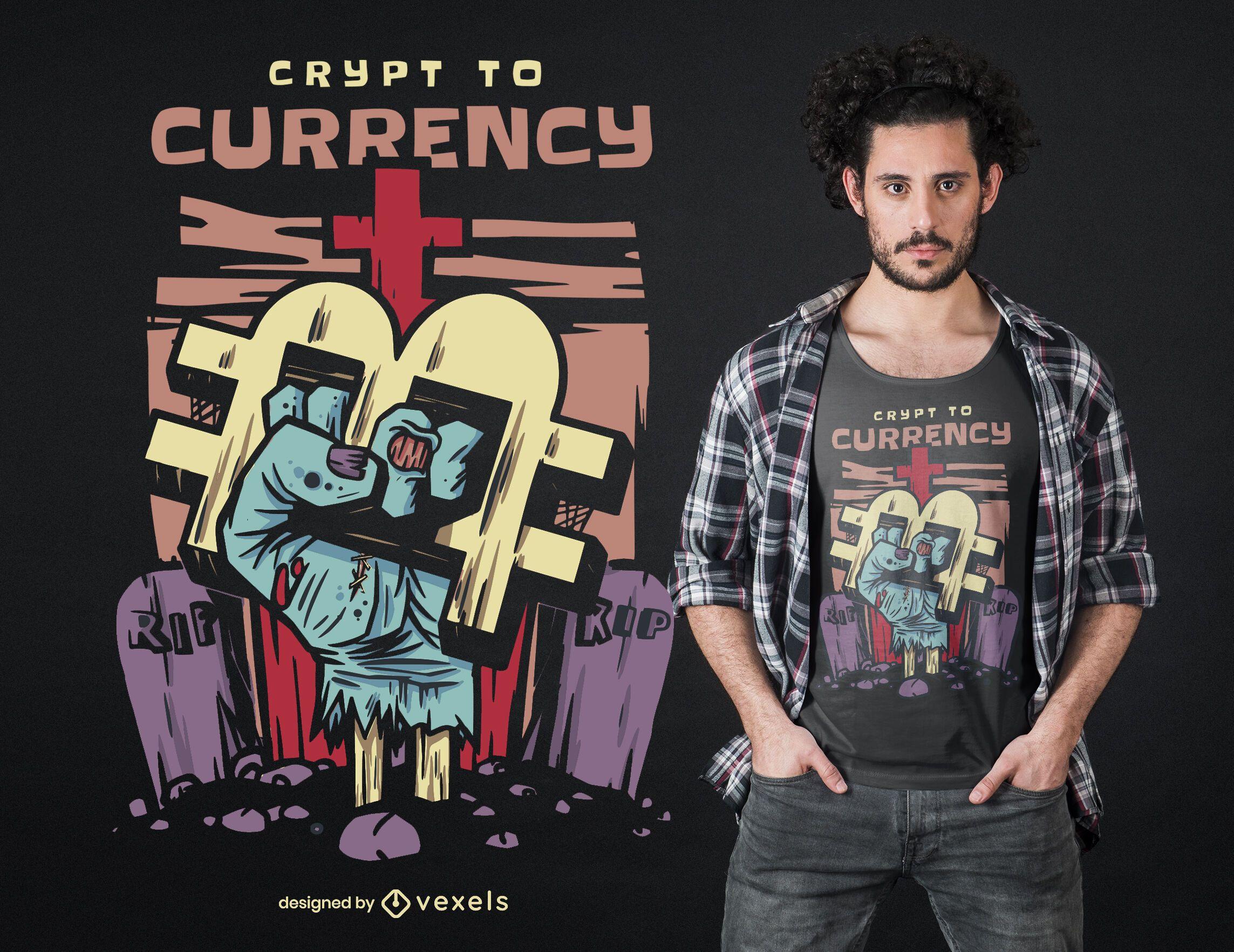 Diseño de camiseta de cripta a moneda.