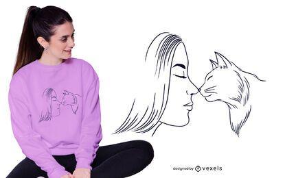 Diseño de camiseta de mujer y gato.