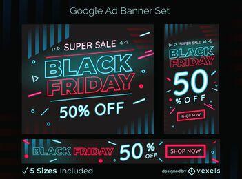Conjunto de banner de anuncios de google de venta de viernes negro