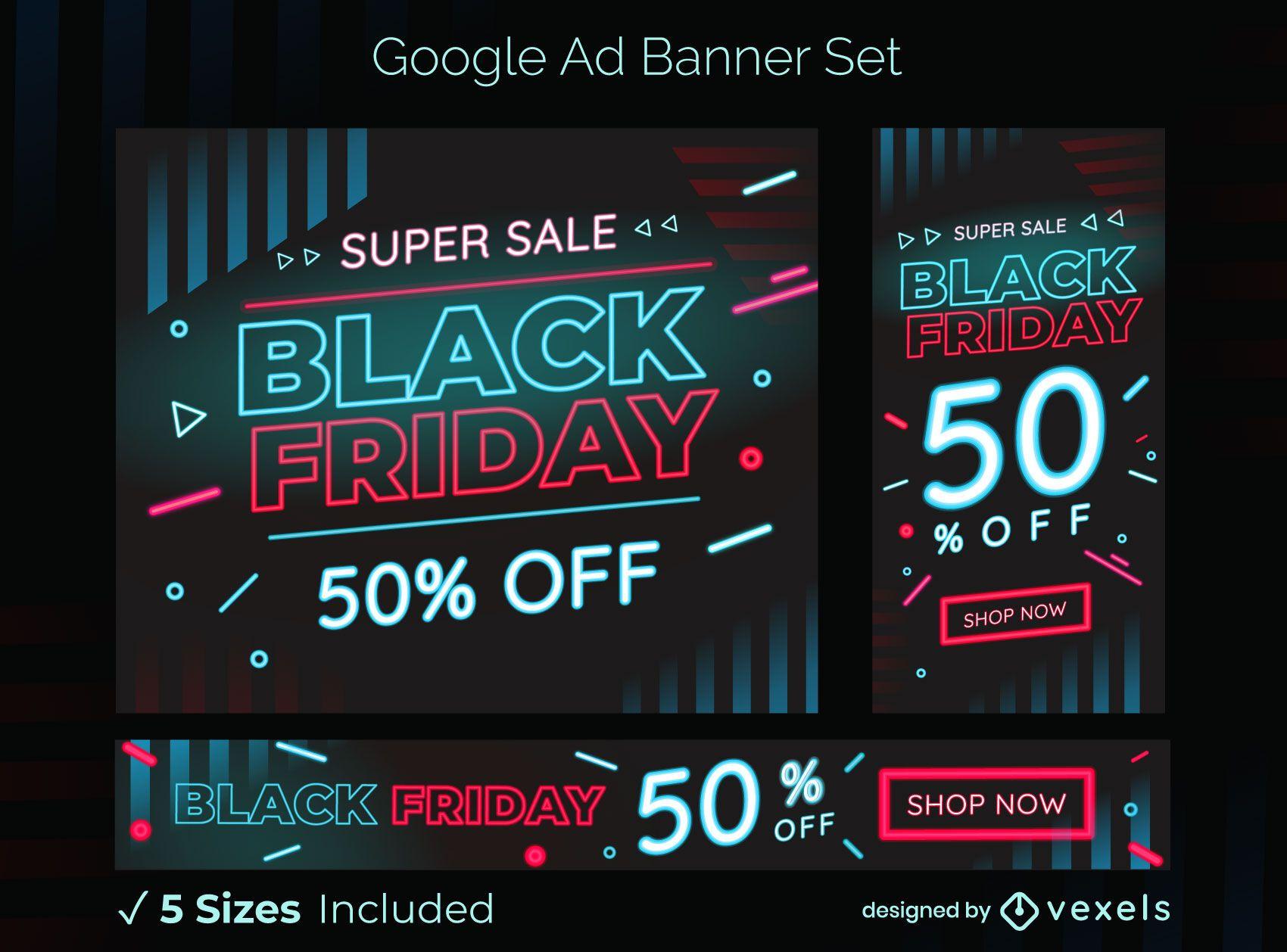 Conjunto de banners de an?ncios do Google para venda na sexta-feira negra