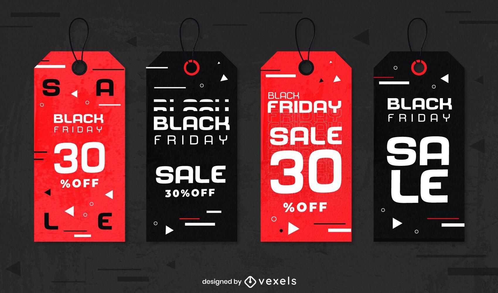 Conjunto de etiquetas de viernes negro
