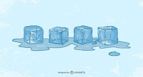 Cubos de gelo derretendo ilustração design