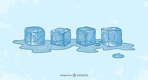Ice cubes melting illustration design