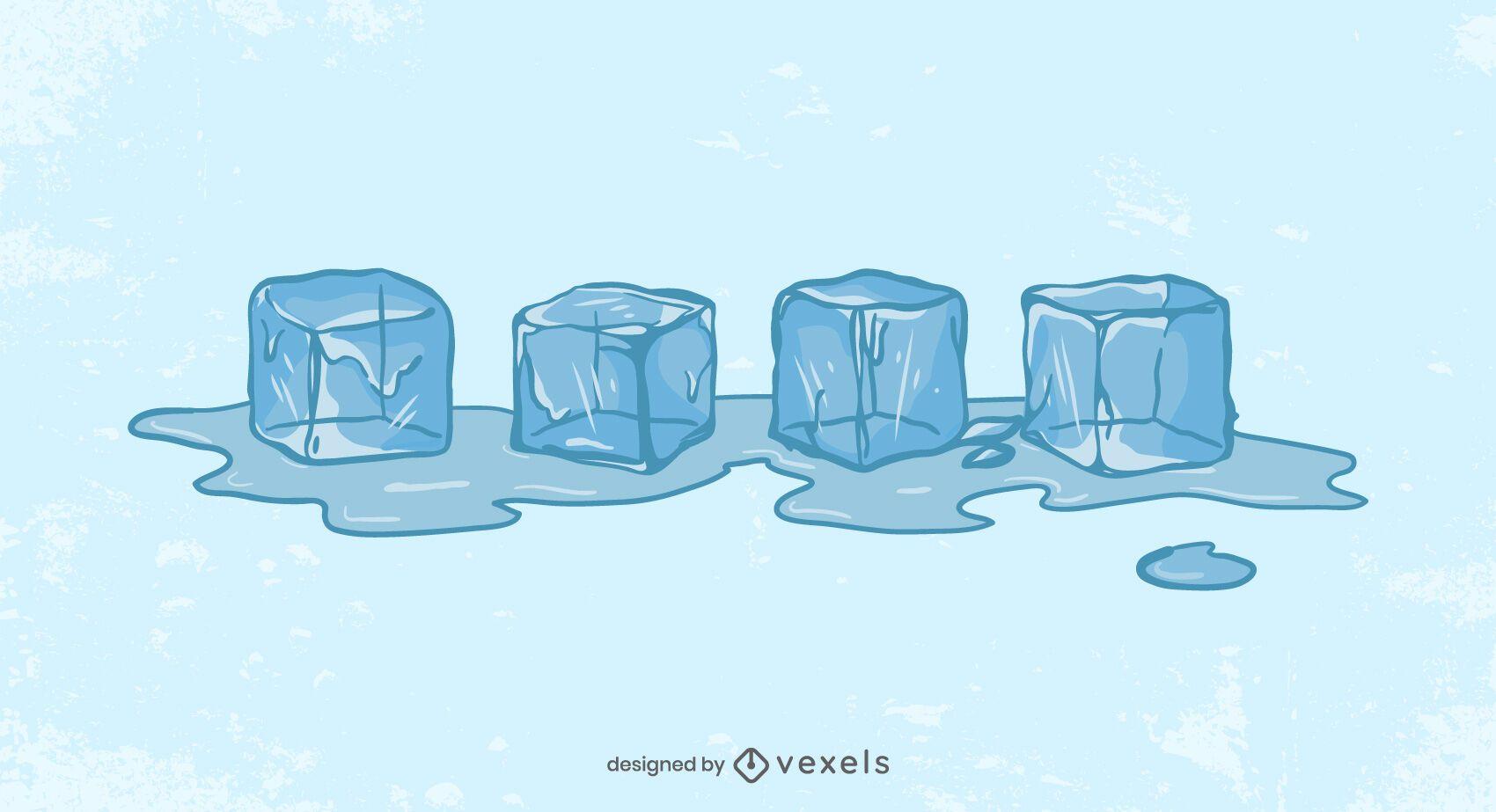 Diseño de ilustración de fusión de cubitos de hielo