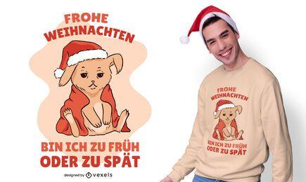 Diseño de camiseta de cita alemana de conejito navideño