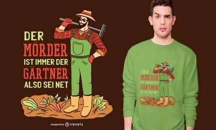 Design de camiseta com citação de jardineiro