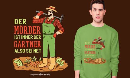 Diseño de camiseta de cita de jardinero