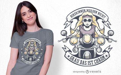 Diseño de camiseta alemana de motociclistas femeninas.