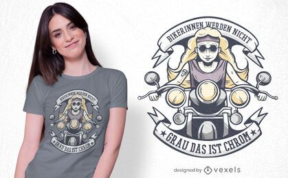 Female bikers german t-shirt design