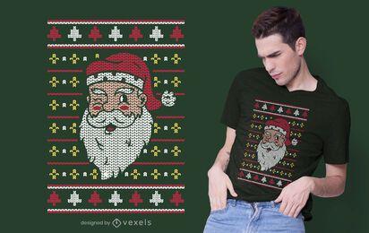 Diseño de camiseta de santa claus suéter navideño