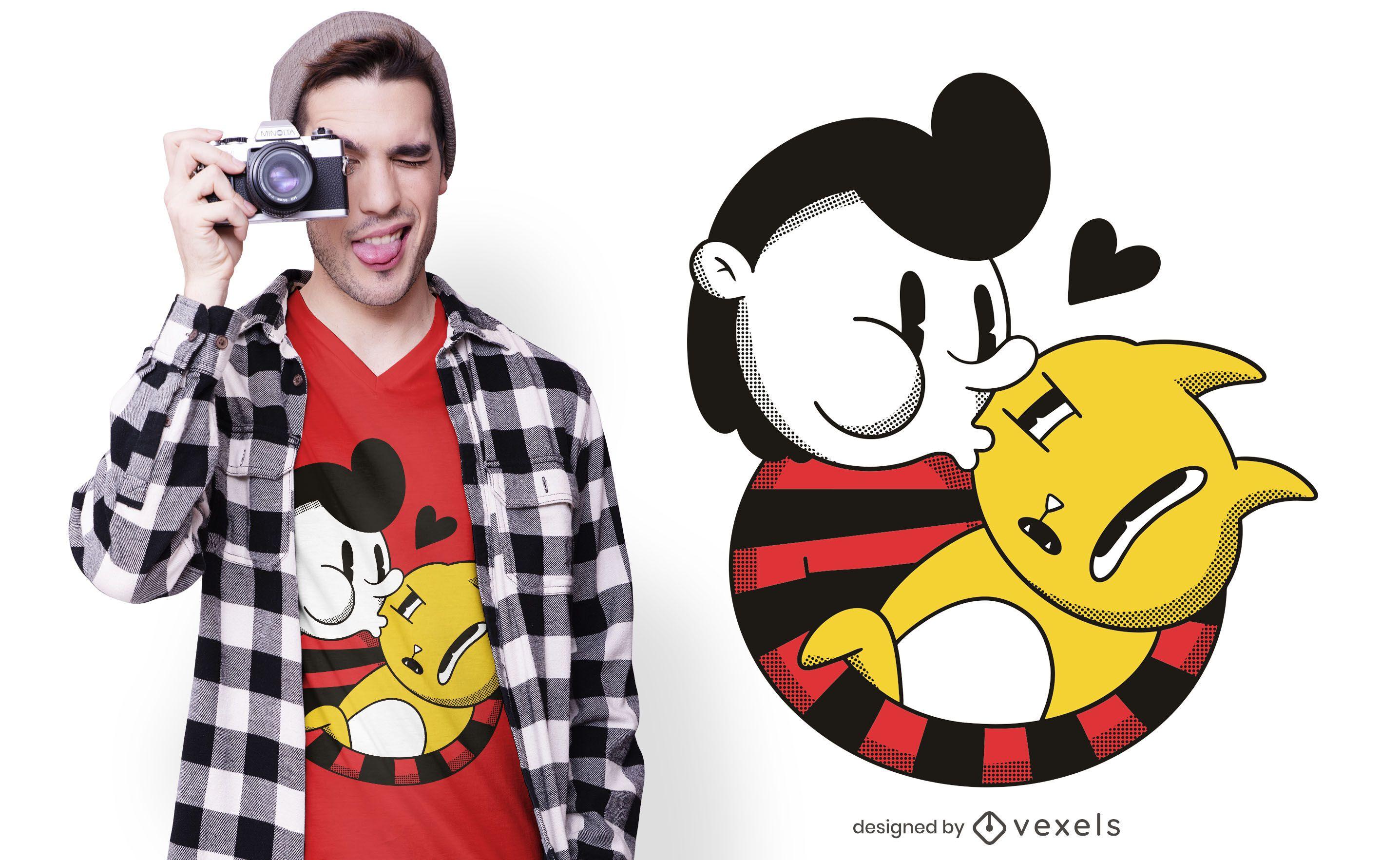 Diseño de camiseta chico besando gato