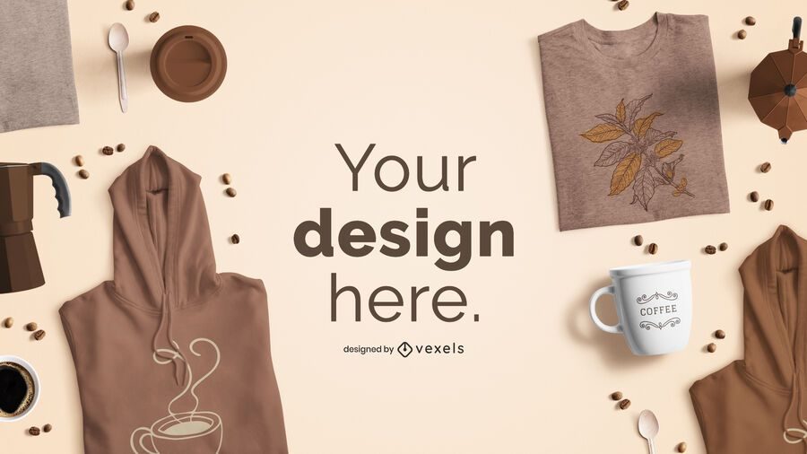Maqueta de marca de producto con temática de café