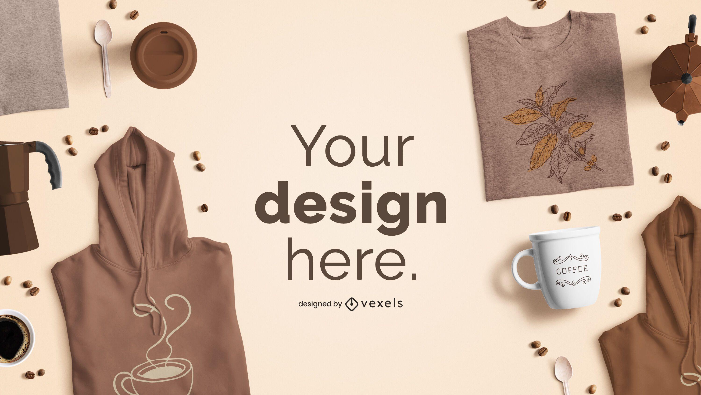 Maquete da marca do produto com tema de café