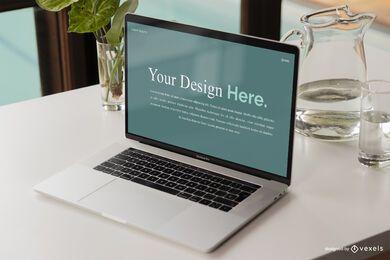 Maquete da cena da tela do computador