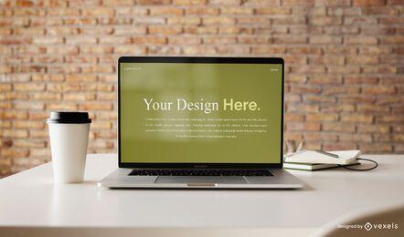 Design de maquete de computador portátil
