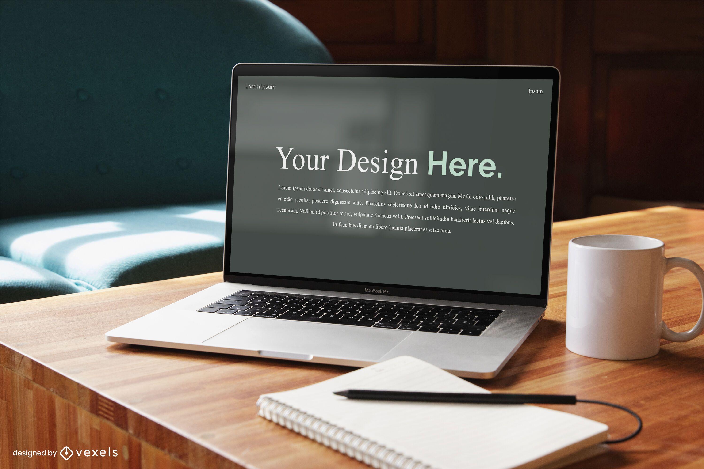Maqueta de pantalla de portátil para autónomo
