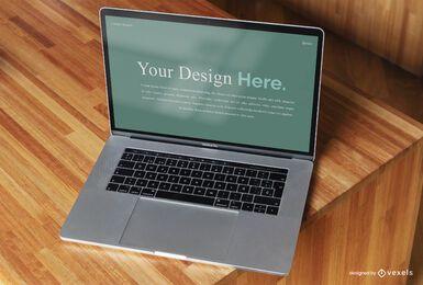 Maquete da tela do computador de vista superior