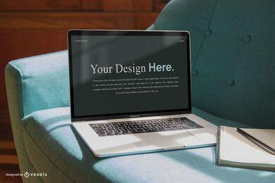 Maquete de tela de negócios de computador