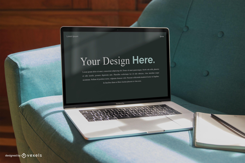 Maqueta de pantalla de computadora empresarial