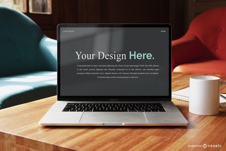 Maqueta de pantalla de portátil de negocios