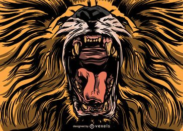 Desenho de ilustração de leão que ruge