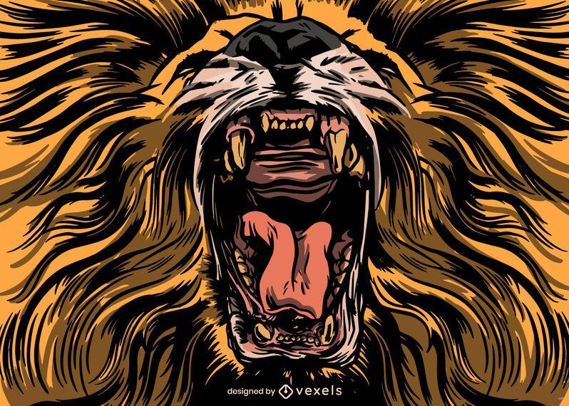 Diseño de ilustración de león rugiente
