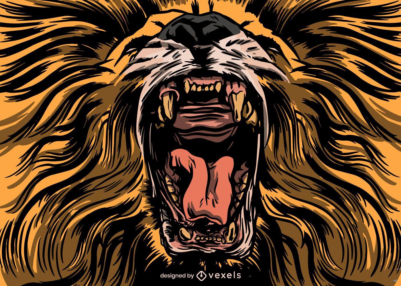 Brüllender Löwe Illustrationsentwurf