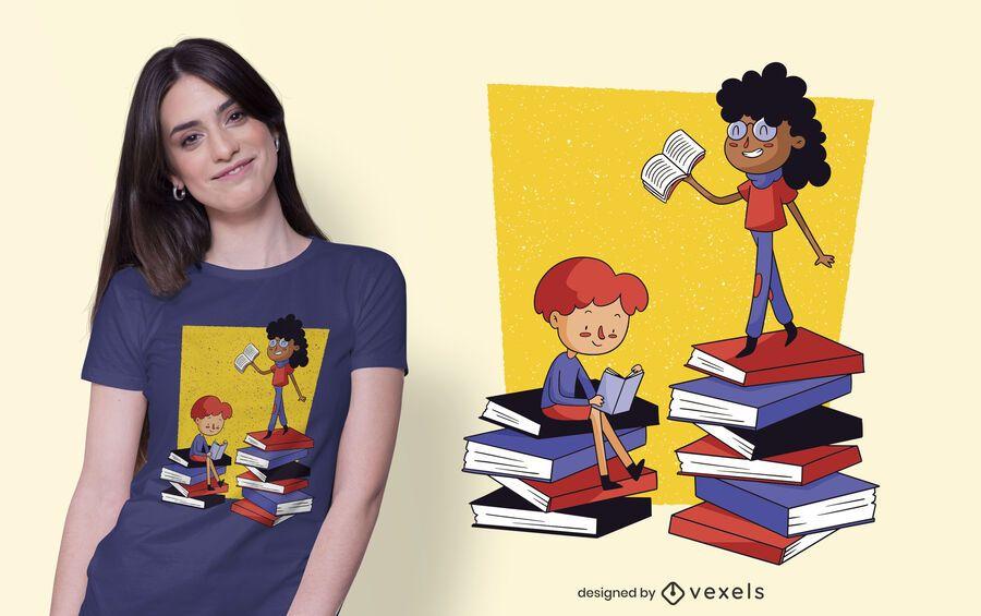 Diseño de camiseta para niños y libros.