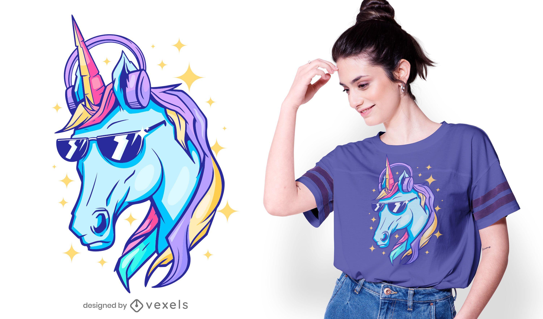 Design brilhante de t-shirt de unicórnio