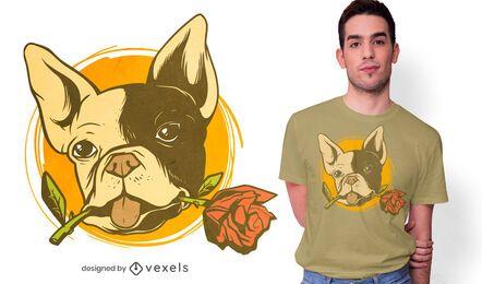 Diseño de camiseta bulldog rose