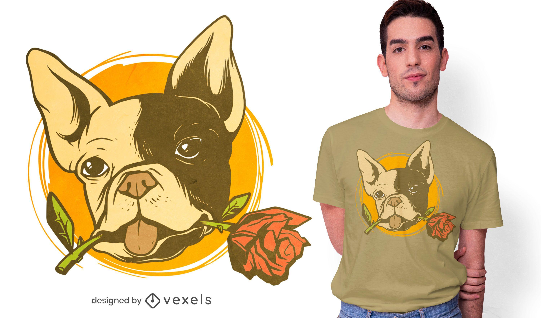 Bulldog rose t-shirt design