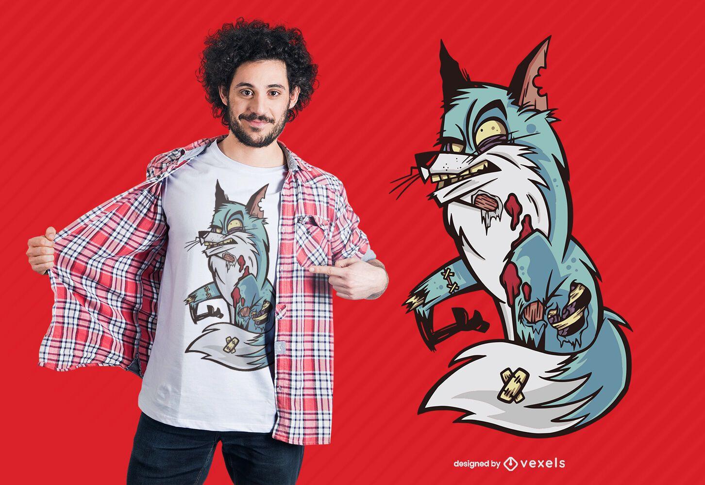 Design de t-shirt Zombie Fox