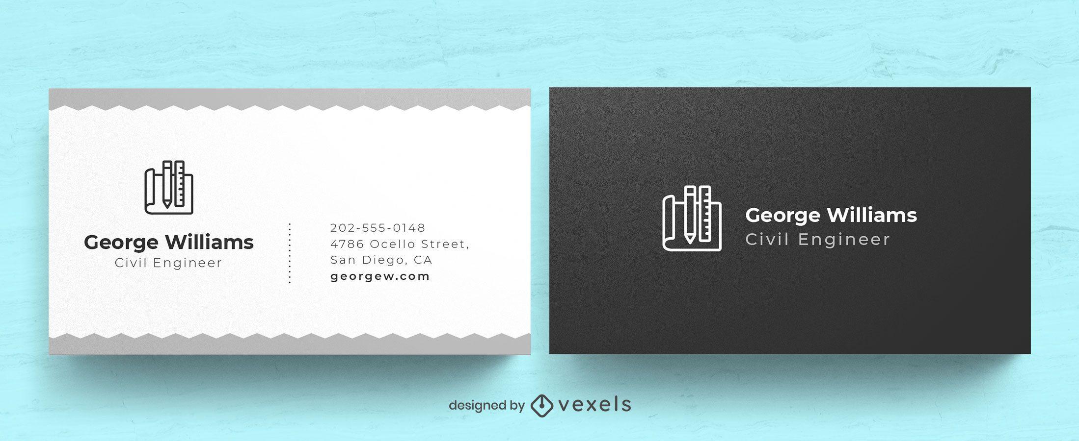 Design de cartão de visita de engenheiro