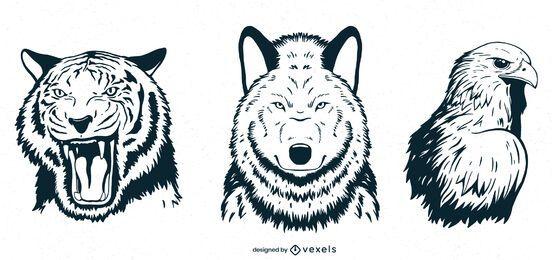 Hand gezeichnete Tiere setzen Design