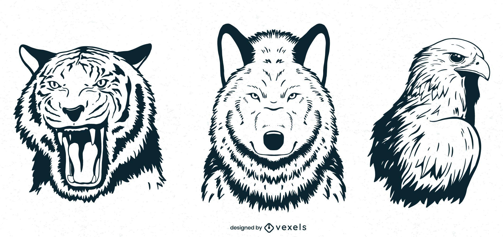 Hand drawn animals set design