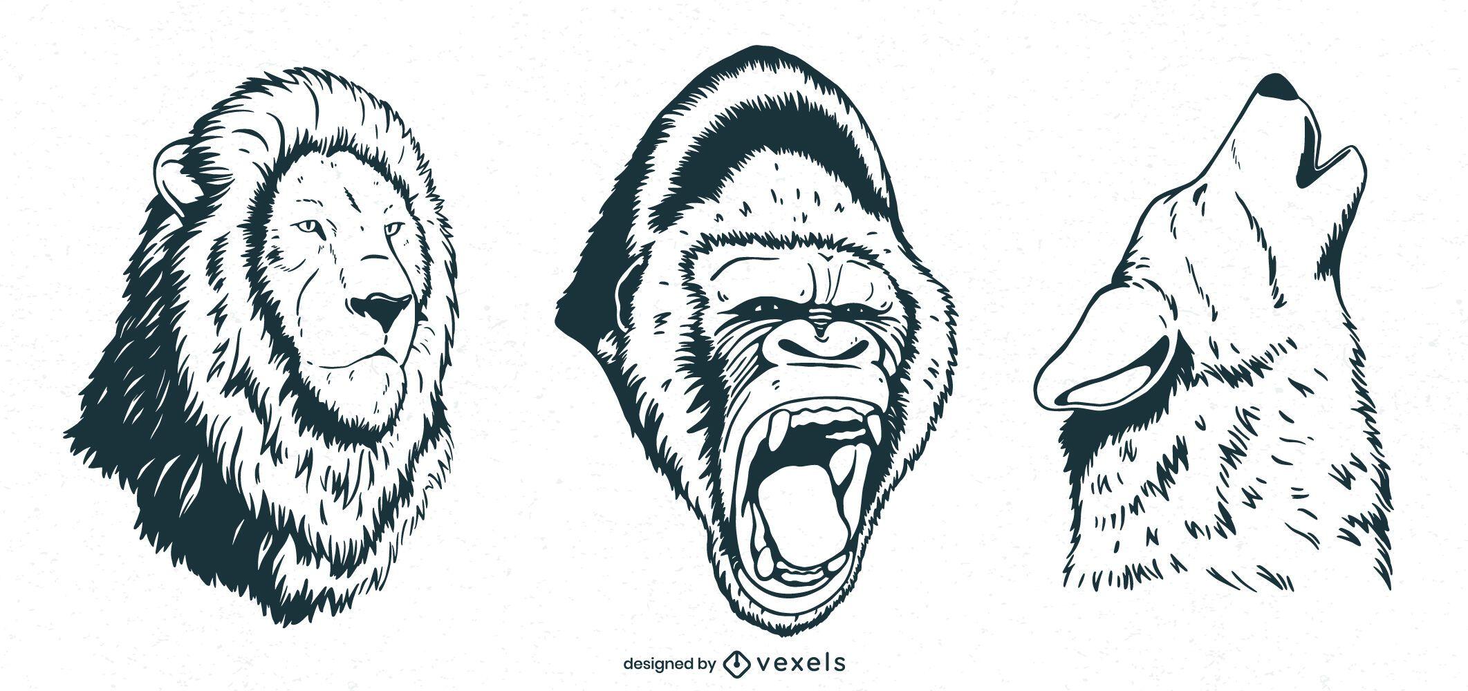 Diseño de escenografía de animales dibujados a mano