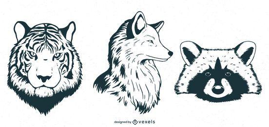 Diseño de conjunto de animales dibujados a mano