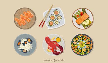 Conjunto de ilustración de comidas de mariscos