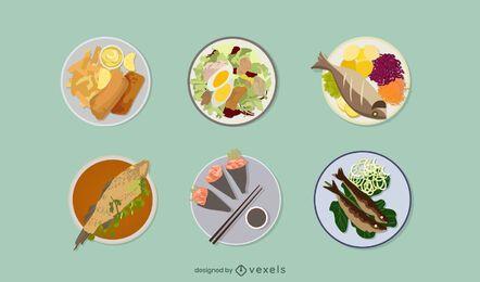 Conjunto de ilustração de frutos do mar
