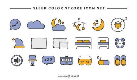 Conjunto de ícones de sono