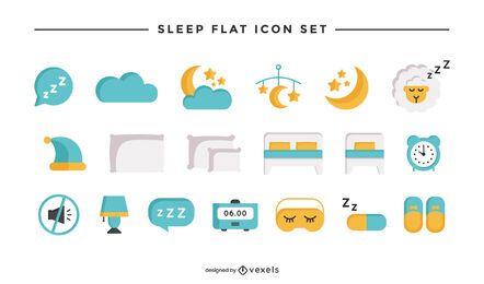 Conjunto de iconos planos de sueño