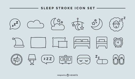 Sleep stroke icon set