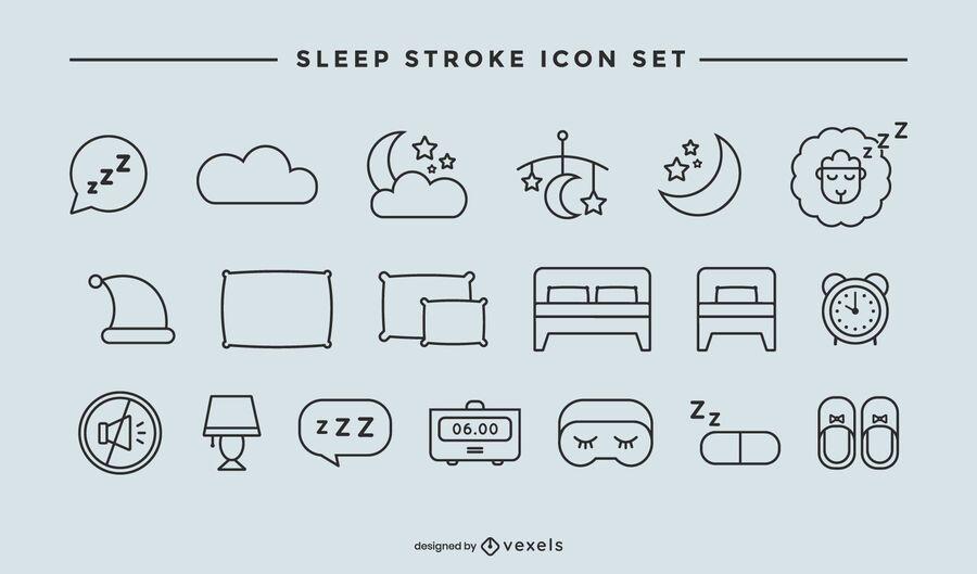 Conjunto de iconos de trazo de sueño