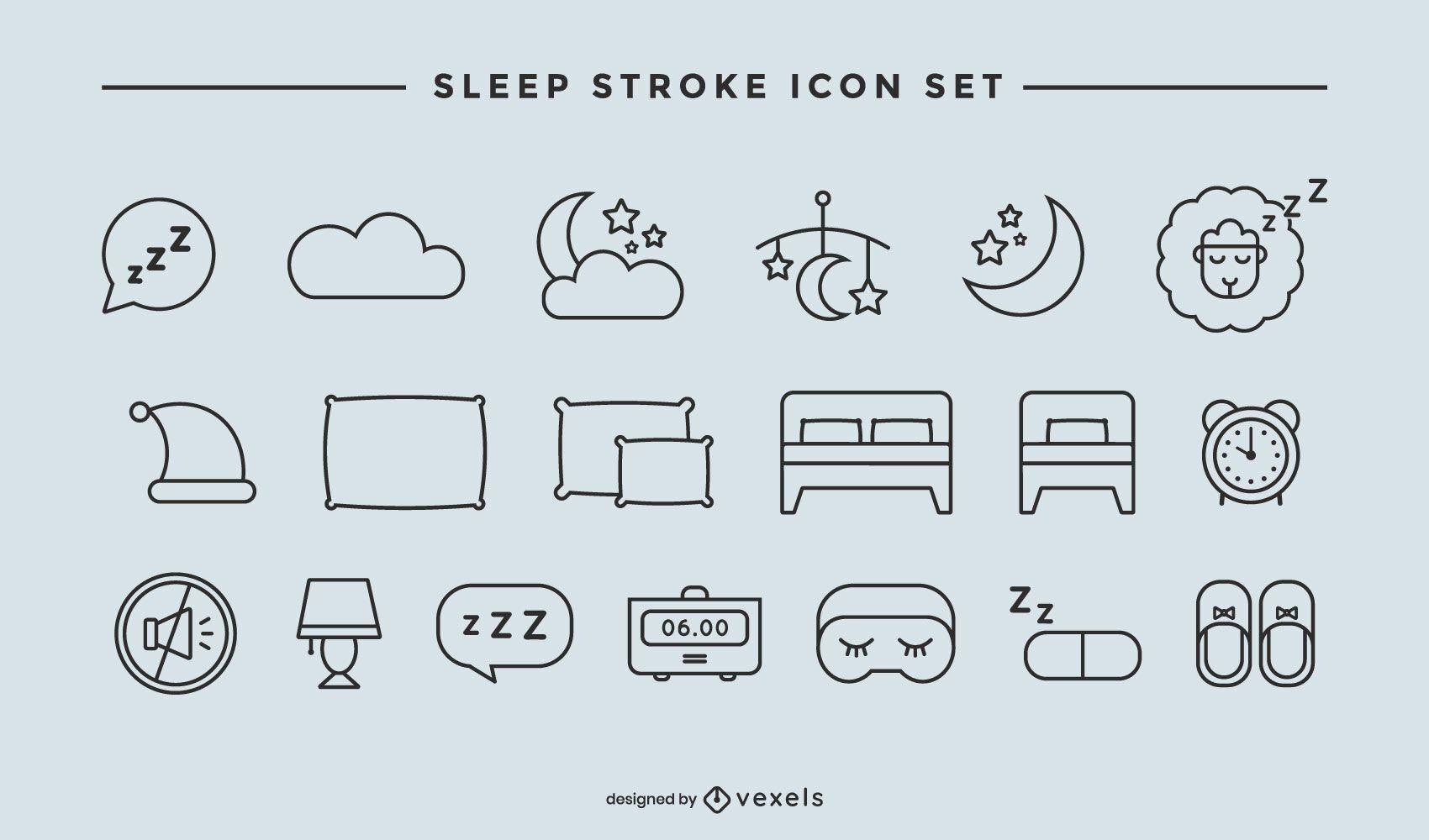 Sleep stroke icon set