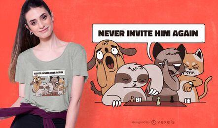 Animais brincando com design de camiseta de preguiça