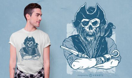 Desenho de esqueleto de t-shirt pirata
